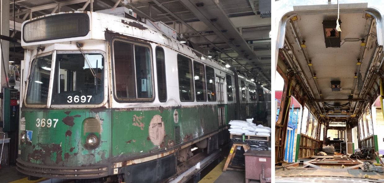 Green Line trolleys dating back to the 1980s are r