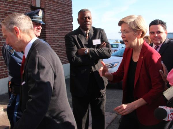 Warren arriving at Fish Pier for an event celebrat...