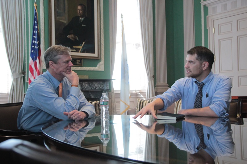 Baker (left) met with Hill in the governor's offic