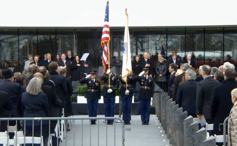 The colors are presented to open the dedication ce
