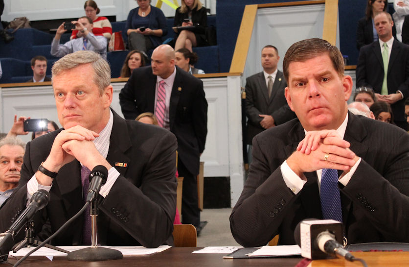 Baker and Walsh take their seats at a hearing befo