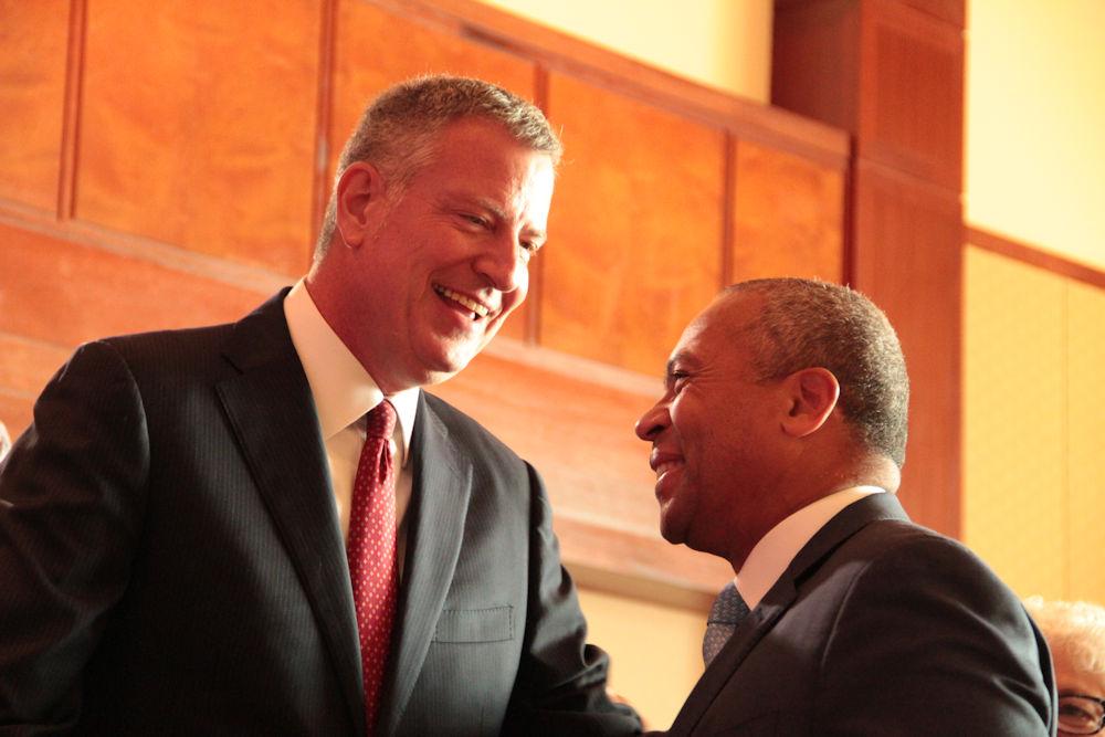 New York City Mayor Bill de Blasio greeted Deval P