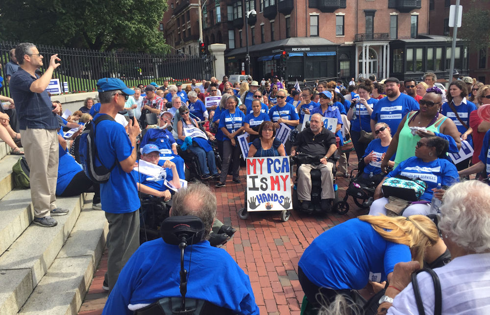 Disability advocates rallied outside the State Hou