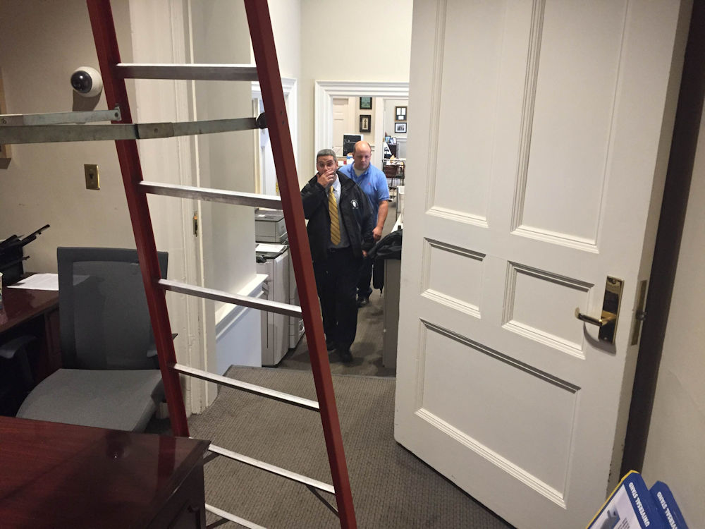 Maintenance and operation workers were seen inside