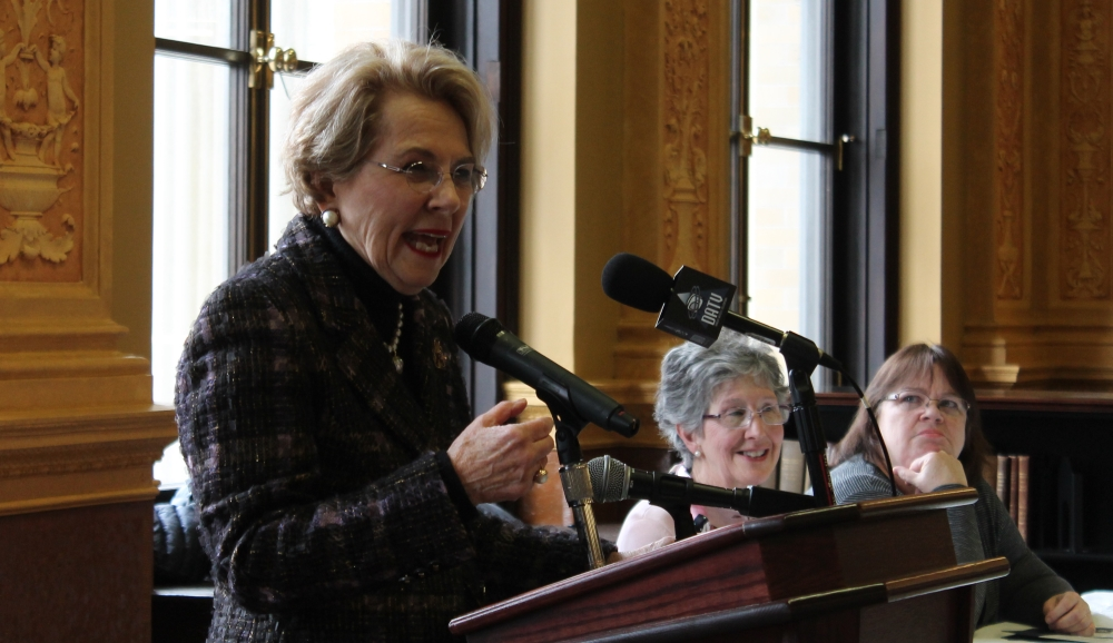 Former Sen. Lois Pines shared her story as a woman