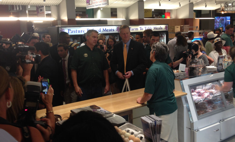 Baker visits Chestnut Farms stand at Boston Public